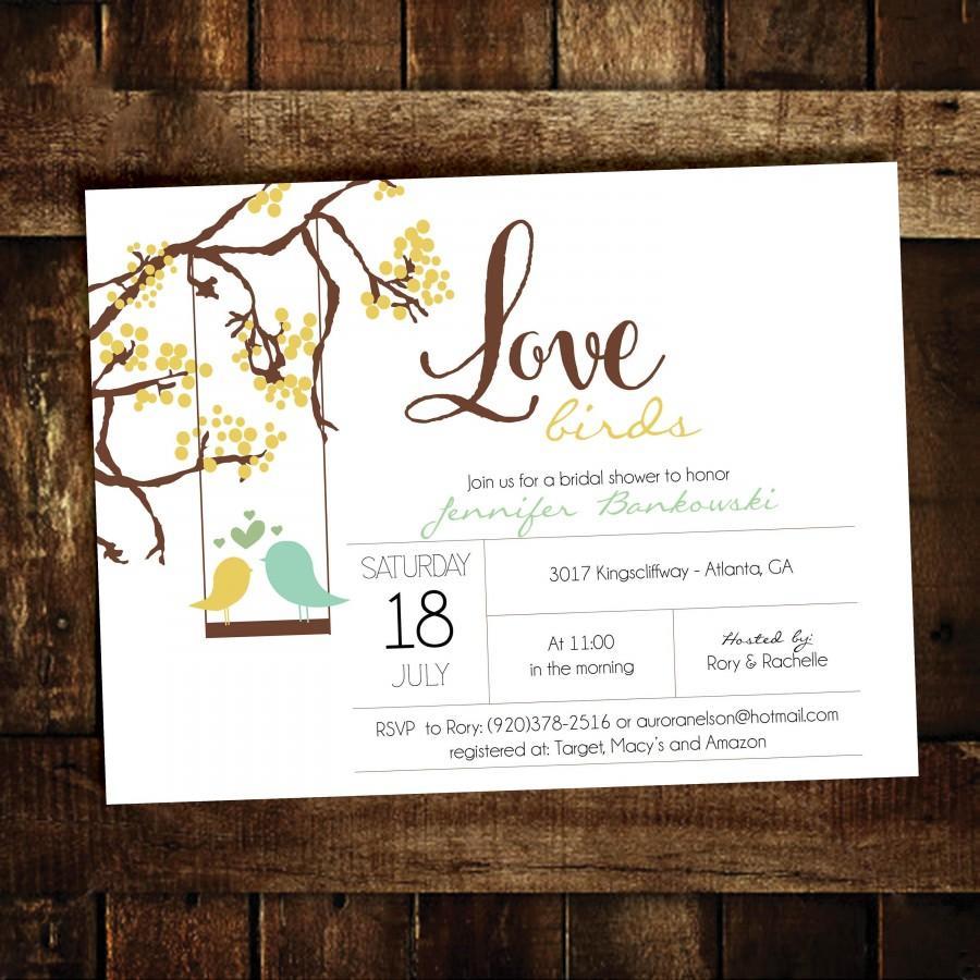 Wedding - Love Birds Bridal Shower invitation
