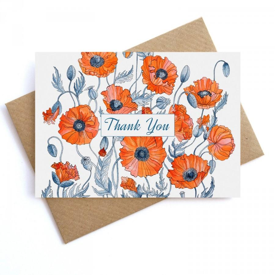 Wedding - Thank You Card Red Poppies Printable Instant Download Wedding DIY Thanks, Floral botanical, Bridal Shower Thank You, birthday thank you card