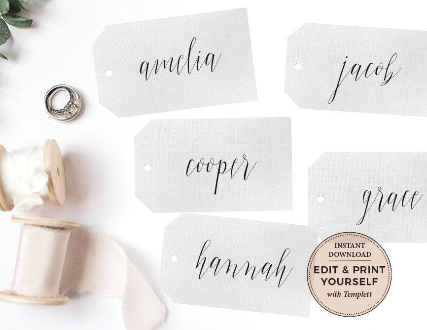 Wedding - Name Tags, Wedding Name Tags, Calligraphy Name Tags, Editable Name Tags, Place Cards, Gift Tags, Wedding Favor Tags, Templett