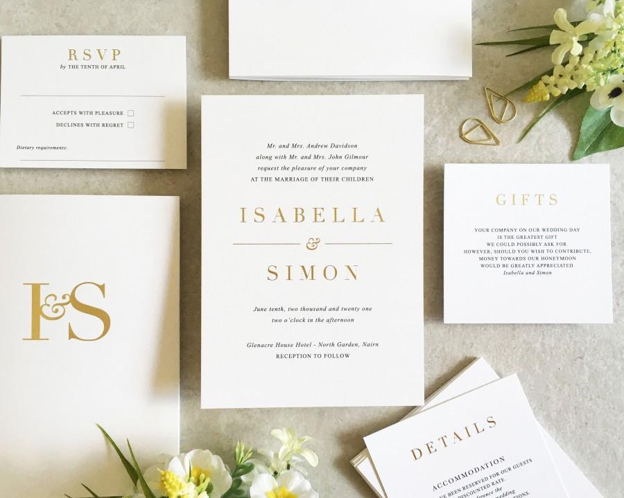 Wedding - Isabella Ink & Foil Wedding Invitation Set - Wedding Invite - Foil Wedding Invitation - Gold Wedding Invitation - Elegant Wedding Invitation
