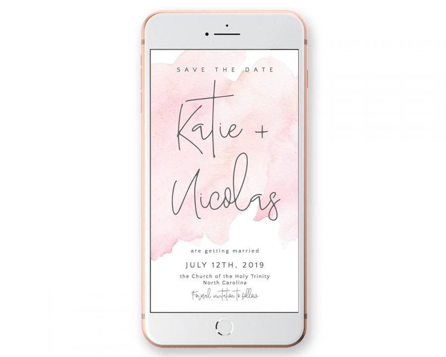 Wedding - Save the Date wedding invitation with blush watercolor, Calligraphy Digital Smartphone Announcement, SMS, Whatsapp