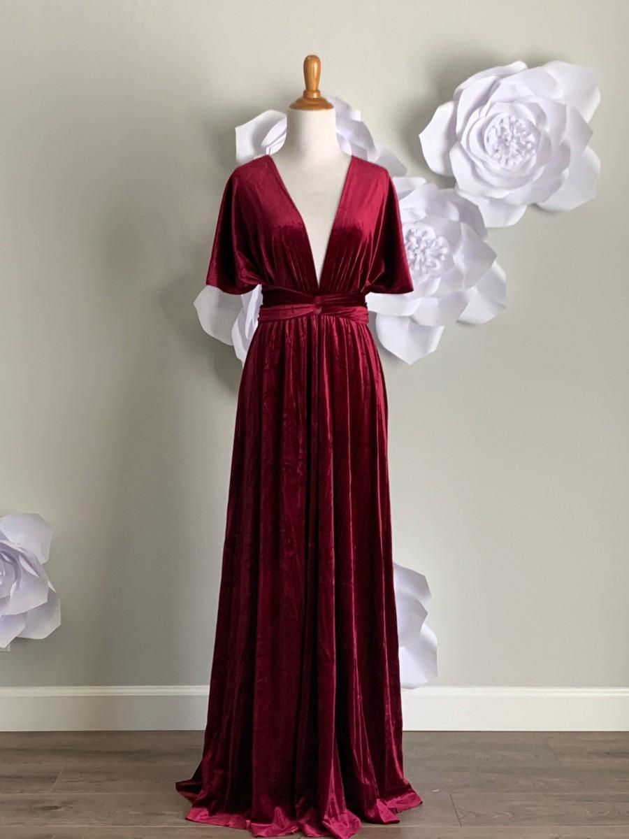 Wedding - Velvet dress ,Velvet Bridesmaid Dress , velvet long infinity Dress velvet wrap dress velvet party dress Evening dress, Free Shipping