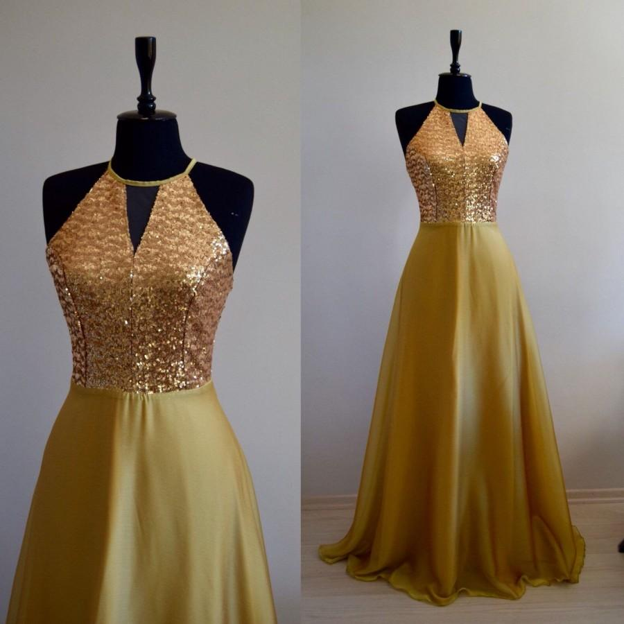 Wedding - Charming Silk Georgette/Chiffon With Top Sequin Gold Bridesmaid Dress, Sleeveless Full Length Sequin Evening Prom Dress, Wedding Party Dress