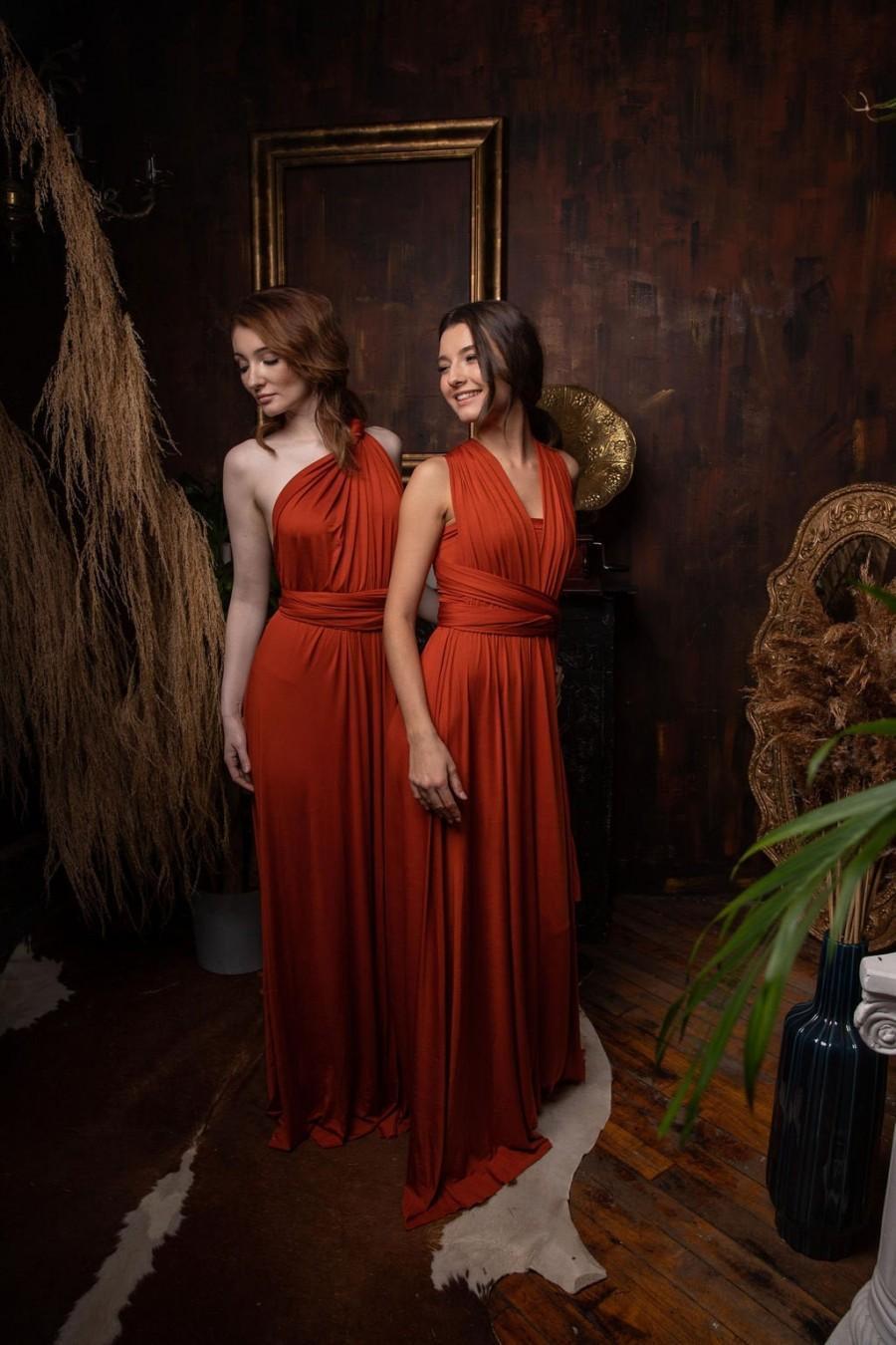 Wedding - Burnt Orange Bridesmaid Dress
