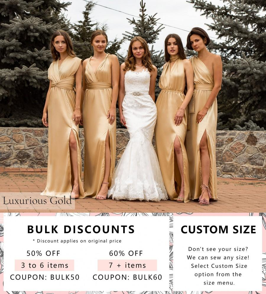 Wedding - Silk Long Gold Dress • Sexy Satin Bridesmaid Transformer • Wedding Plus Size Wrap Dress • Luxurious Gift for Her • Multiway Prom Dress