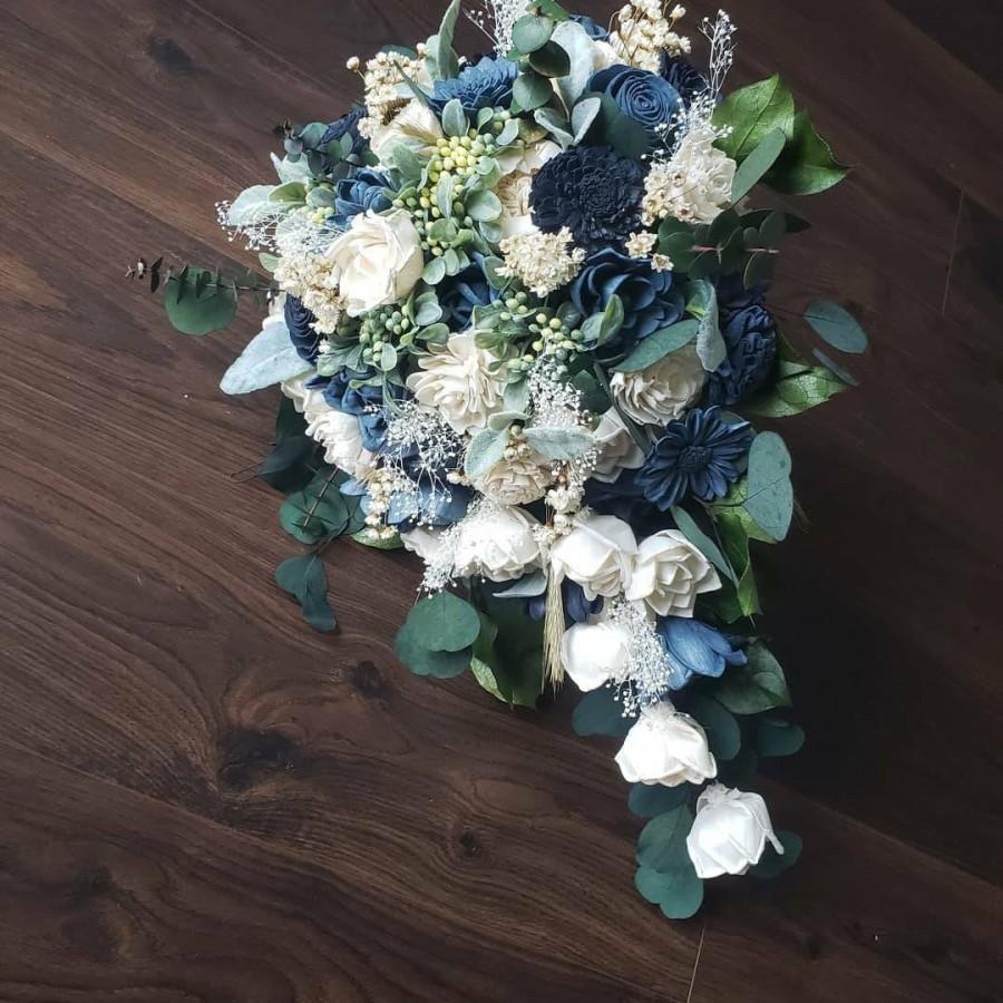 Hochzeit - Steel blue and navy wedding bouquet, cascading bouquet, sola wood flowers