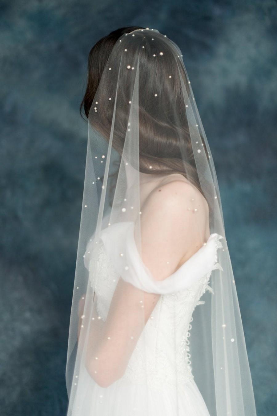Свадьба - Pearl Wedding Veil, Ivory Bridal Veil, Polka Dot Veil, TulleVeil, Scattered Pearl Veil, Raw Cut Veil, Modern Veil, Single Tier Veil, AMANIE
