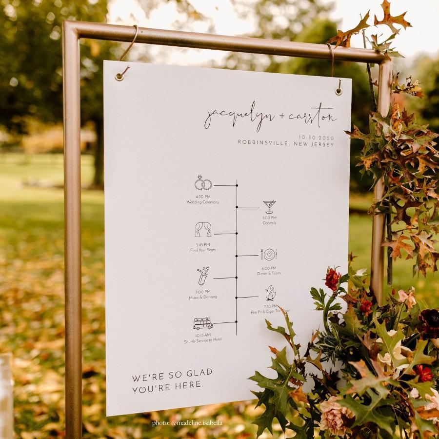 Mariage - ADELLA Modern Minimalist Wedding Timeline Sign Template, Welcome Timeline Sign, Editable Wedding Timeline Poster, Templett Wedding Sign