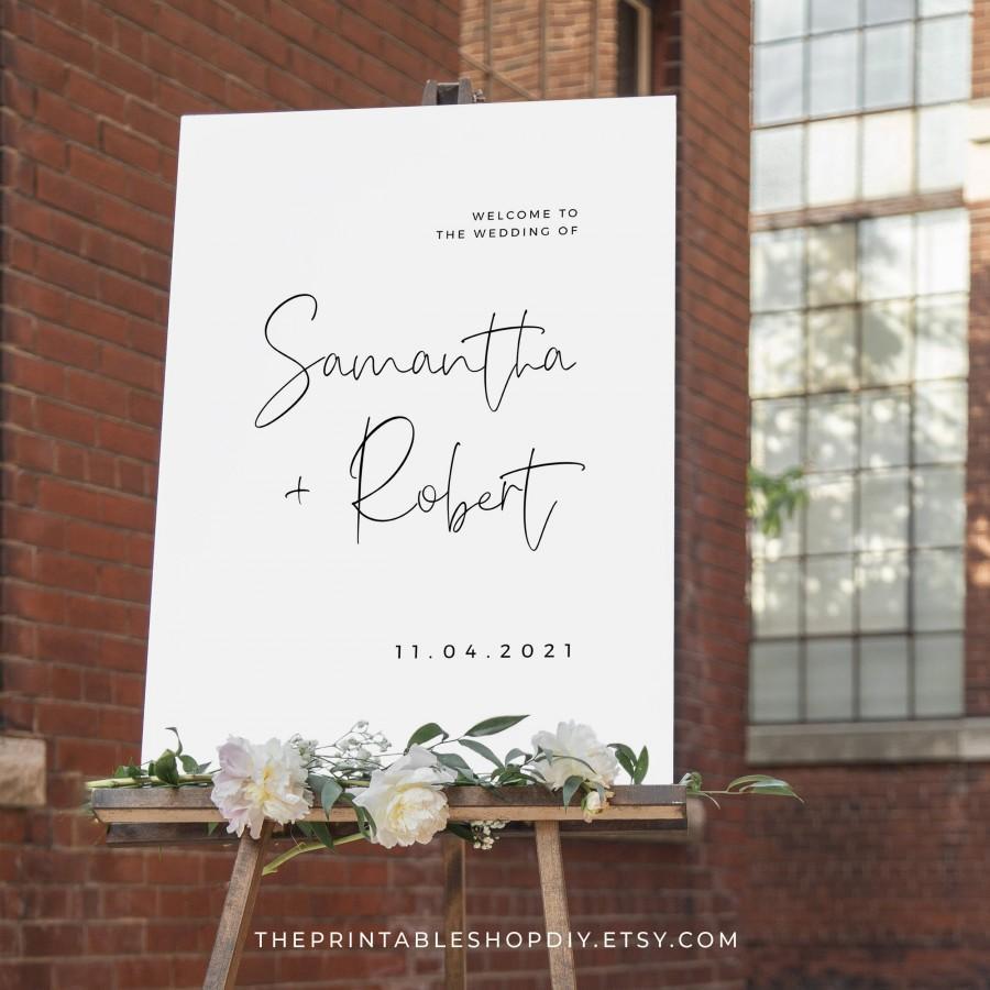 Mariage - Minimal Wedding Welcome Sign Printable, Modern Wedding Signage, Wedding Sign Template, Digital Download
