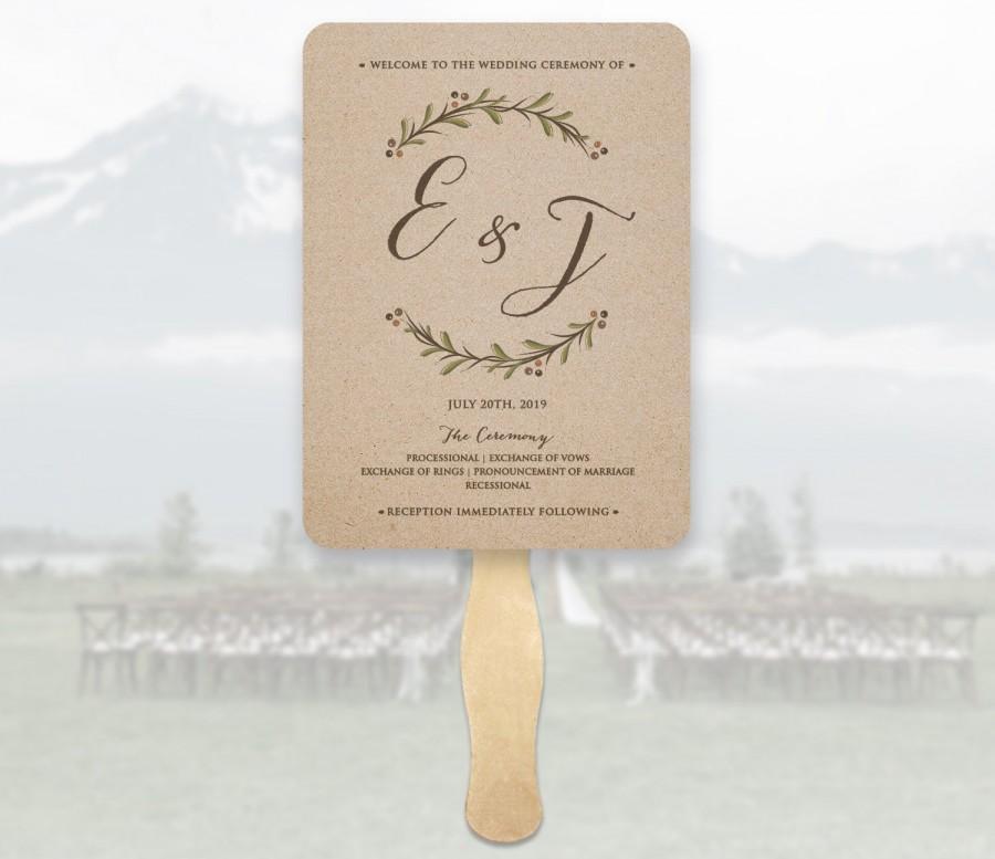 Hochzeit - Wedding Program Fans Wooden Sticks Included  - Wedding Program Fans - Printed Ceremony Wedding Fan - Kraft Wedding Ceremony Fans