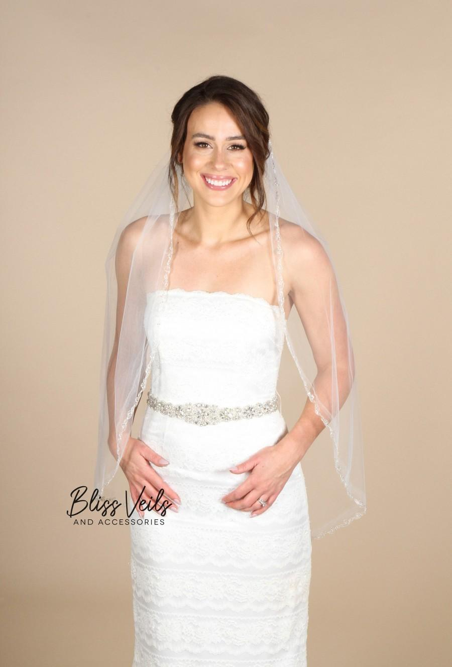 Mariage - Ivory Fingertip Beaded Veil - Fast Shipping!