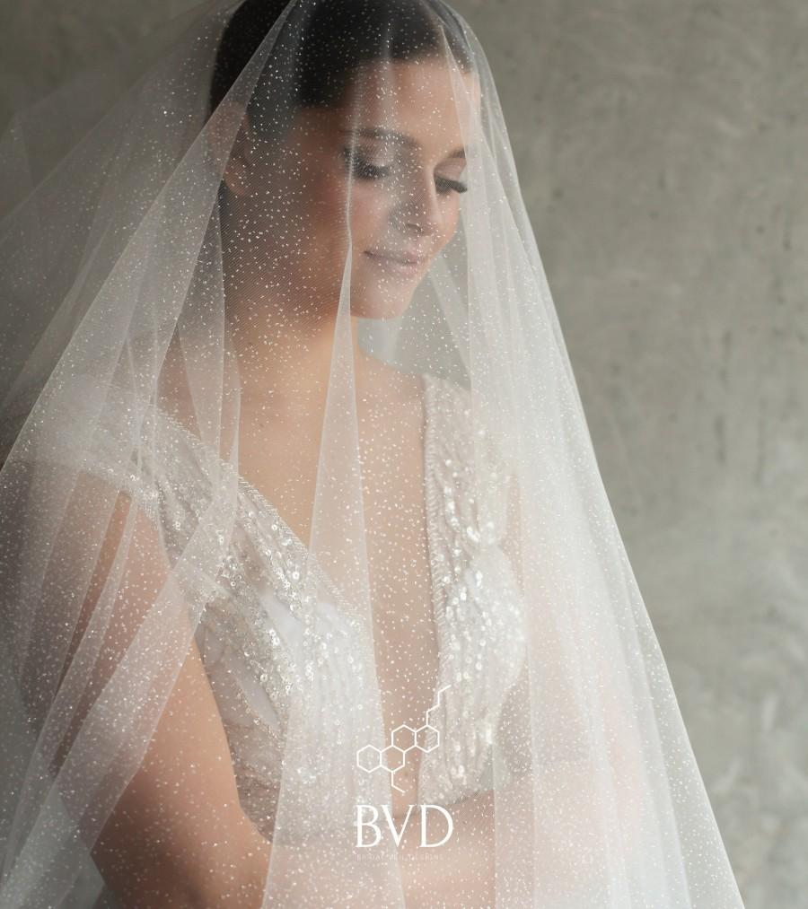 Mariage - Glitter veil, sparkle bridal veil, shimmer wedding veil