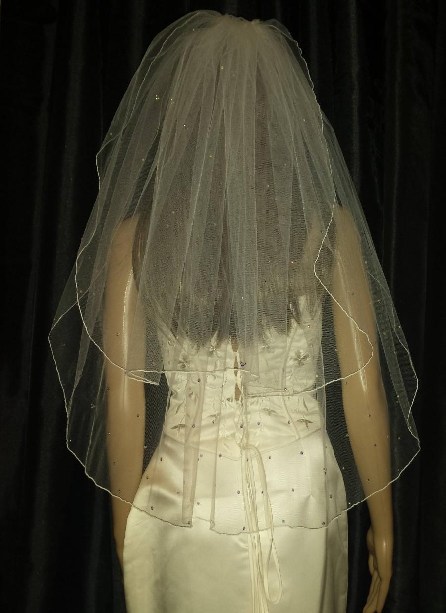 Mariage - Hidden Mickey veil Disney inspired Ivory wedding veil Scattered with Swarovski Crystals or Diamante Rhinestones  2 layer. Various lengths.