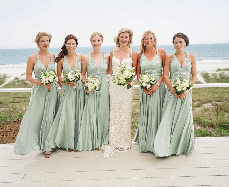 Wedding - Sage green bridesmaid dresses Sage bridesmaid dresses Open back dress Boho bridesmaid dresses Infinity dress off shoulder Party wear dress