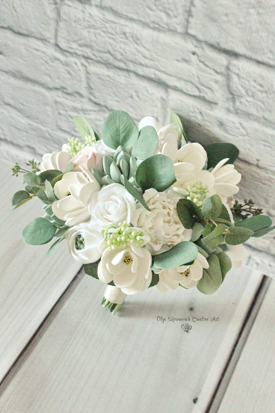 Mariage - Magnolia bouquet Succulent bouquet Keepsake wedding bouquet White wedding bouquet Garden bouquet Boho wedding bouquet Eucalyptus bouquet