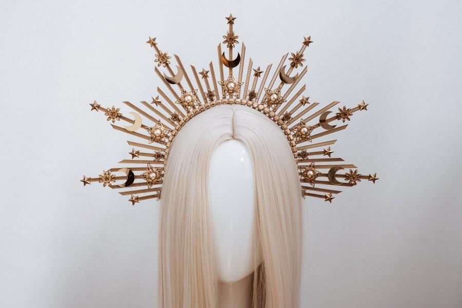 Wedding - Moon child Halo Crown, Halo, Halo Crown, Halo Headpiece, Halo Headband, Halo Headlights, Crown, Gold Halo, Headpiece, Wedding Crown, Stars