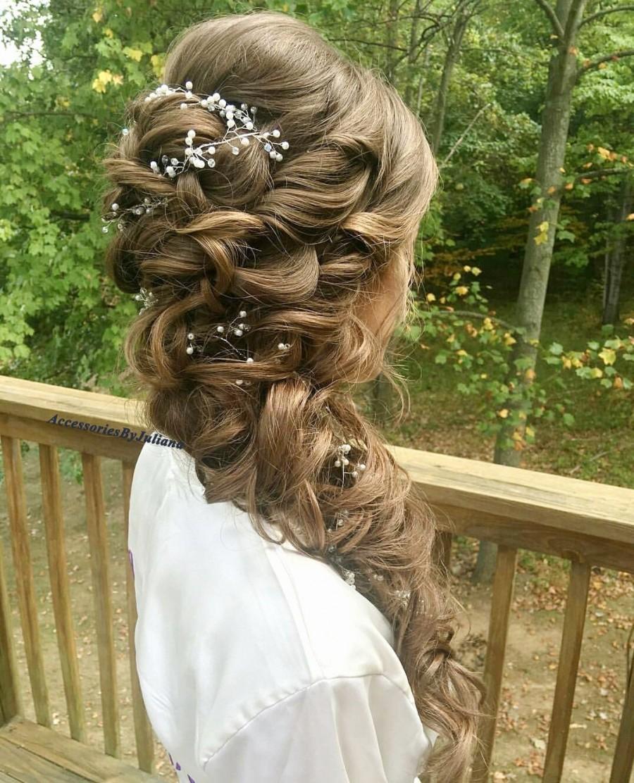 Mariage - Extra Long Hair Vine Bridal Hair Vine Crystal and Pearl hair vine Wedding Hair Vine Crystal Hair Piece Bridal Jewelry Hair Vine Pearl