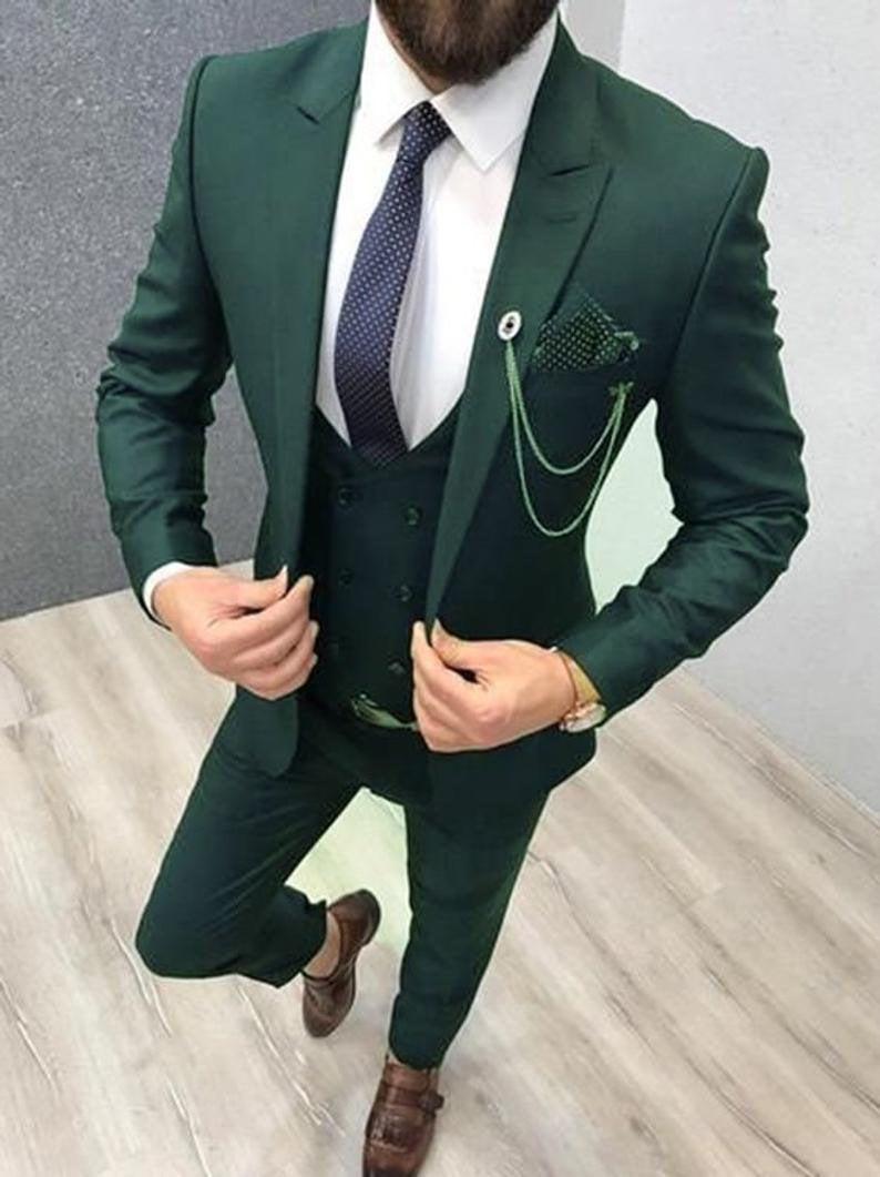 Wedding - Men Suit Green 3 Piece Formal Fashion Wedding Groom Wear Slim Fit Party Wear Men Suits