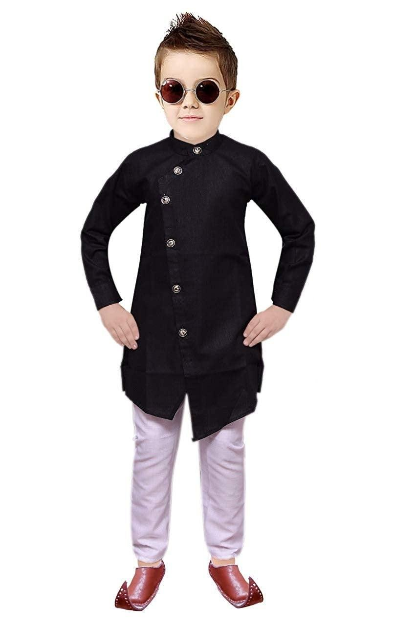Wedding - Indian Designer Angrakha style Cotton Traditional Kurta Pajama for kids Boys