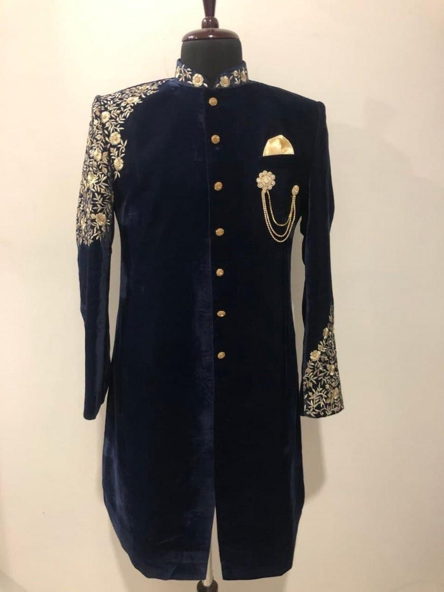 Wedding - New Stylish Ethnic Designer Partywear Black Valvet Embroidery Work indo western for men with chudidaar pajama.