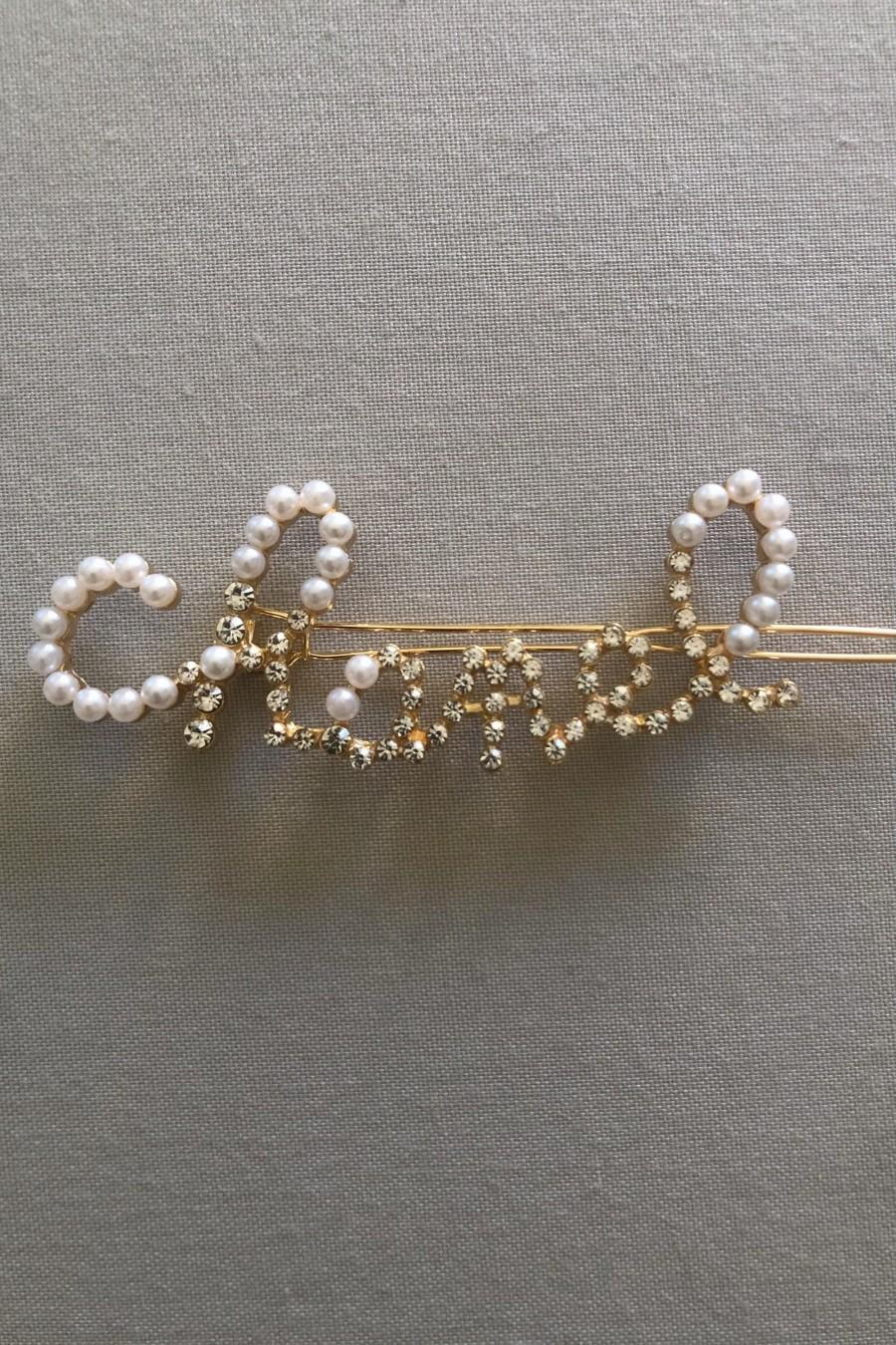 Wedding - Crystal Pearl Hair Clip Rhinestone Gold Plated Minimalist Crystals Made for Her Letter Crystals