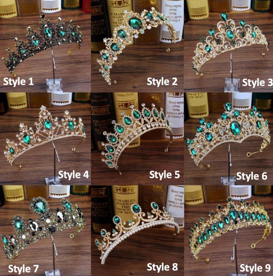 Wedding - Bridal Green Tiaras, Crystal Tiara, Crystal Wedding Crown, Rhinestone Tiara, Wedding Tiara, Diamante Crown Pageant Crown, Bridal Tiara