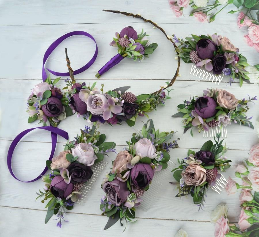 Wedding - Purple floral hair piece Plum floral hair comb for bride Wedding hair piece floral Headpiece for bridesmaid Flower girl crown Floral Halo