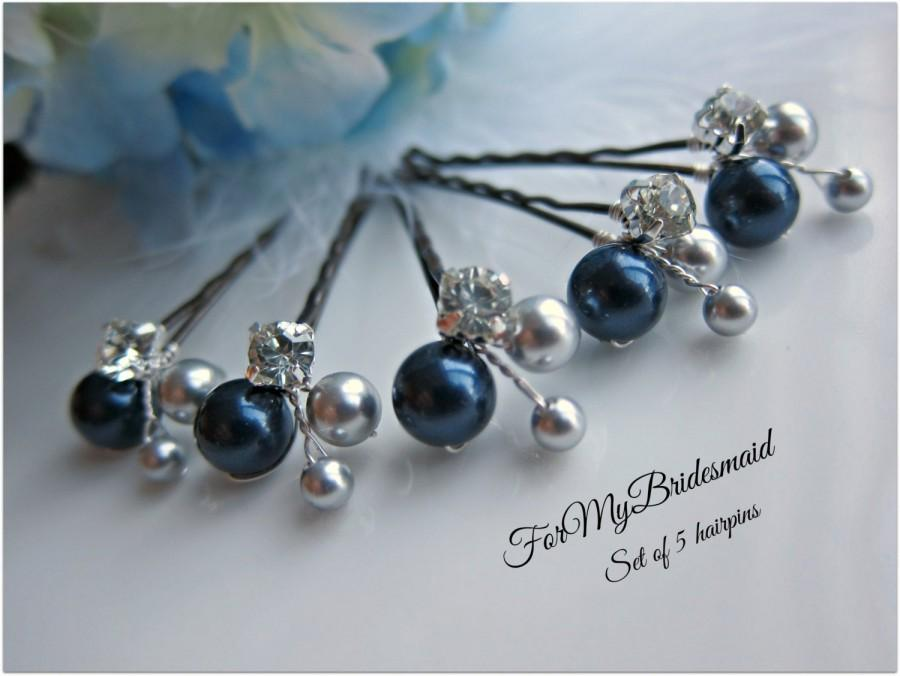 Wedding - Ivory blue Pearl Clip, Bridal Hair Pins, Wedding Hair Accessories, Pearl Wedding Hair Pins, Set of 5 pins, Floral Vine, White hair clips.