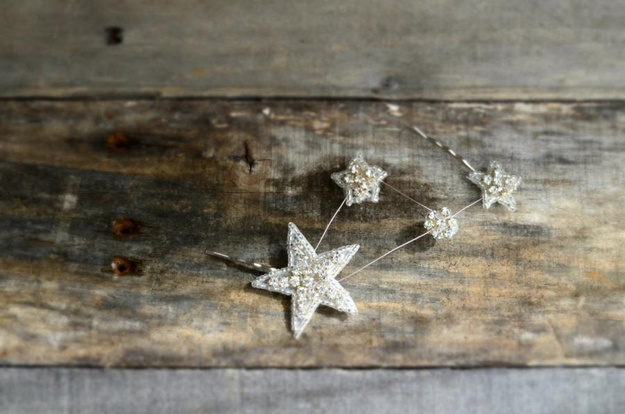 Wedding - Celestial star hair pins, constellation hair clip, rhinestone hair accessory, silver star bobby pin, hair adornment, holiday glam accessory