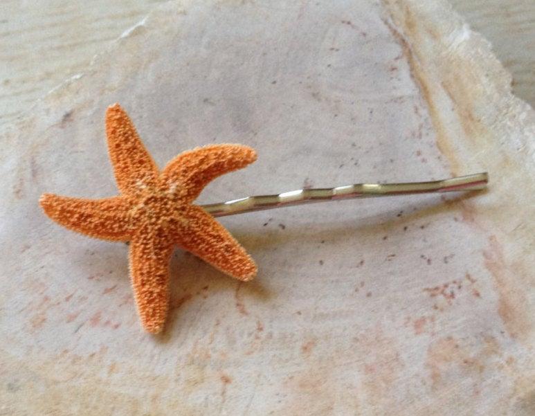 Wedding - Sugar Starfish Hair Pin Beach Wedding Ocean Hairstyle Seashore Little Mermaid Costume Bobby Pin Surfer Girl Halloween Hawaiian Luau Small