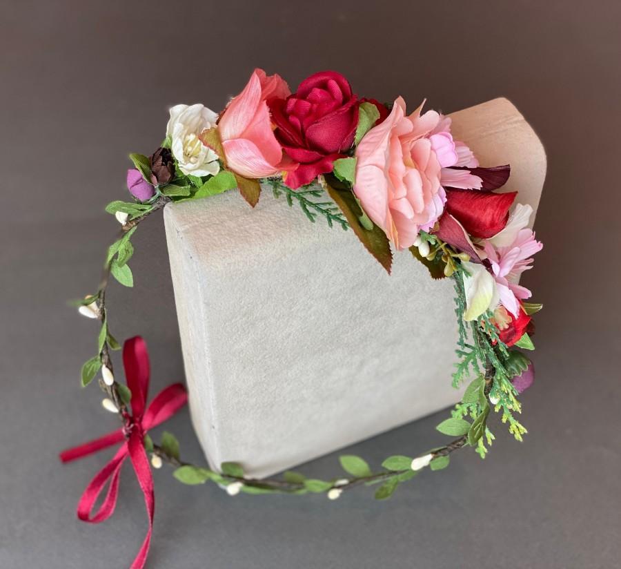 Wedding - Burgundy blush flower crown wedding headpiece bridal hairpiece wedding floral crown boho flower girl flower headband bridesmaid hair flowers