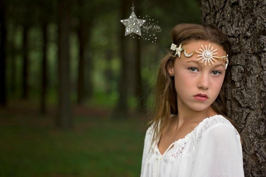 Wedding - boho hair accessories - hippie headband - Headband crystal - boho wedding headband - bridal headband - Gold headband - sun moon stars