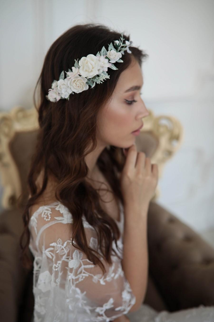 Wedding - White flower crown, Wedding Flower Crown, Side Flower crown, Bohemian crown, Flower Girl Crown, Rose Flower Headband, Bridal Headpiece