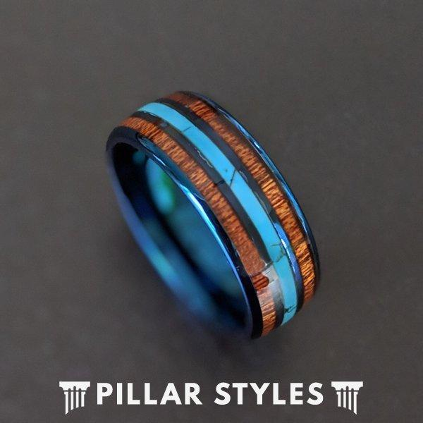 Свадьба - Mens Wedding Band with Turquoise & Koa Wood Ring - Blue Tungsten Wedding Band Mens Ring Wood Wedding Band - Unique Mens Turquoise Ring