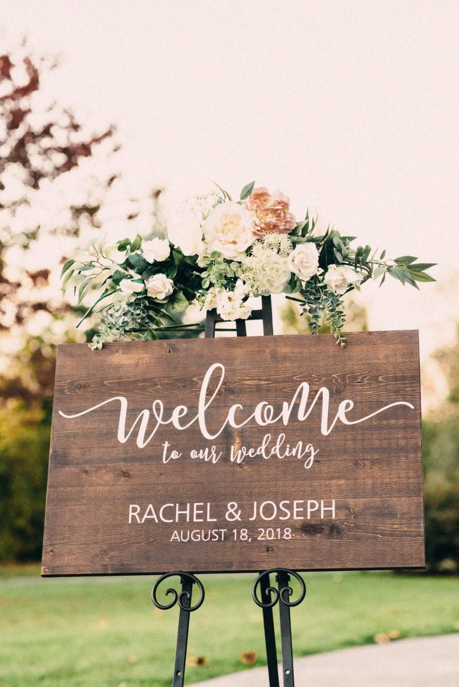 Mariage - Wedding Welcome Sign - Welcome to our Wedding - Wood Wedding Sign - Rustic Wedding Decor