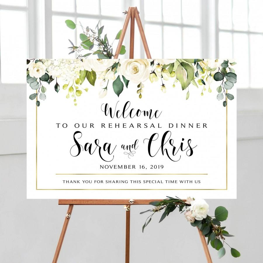 Mariage - Greenery Rehearsal Dinner Welcome Sign