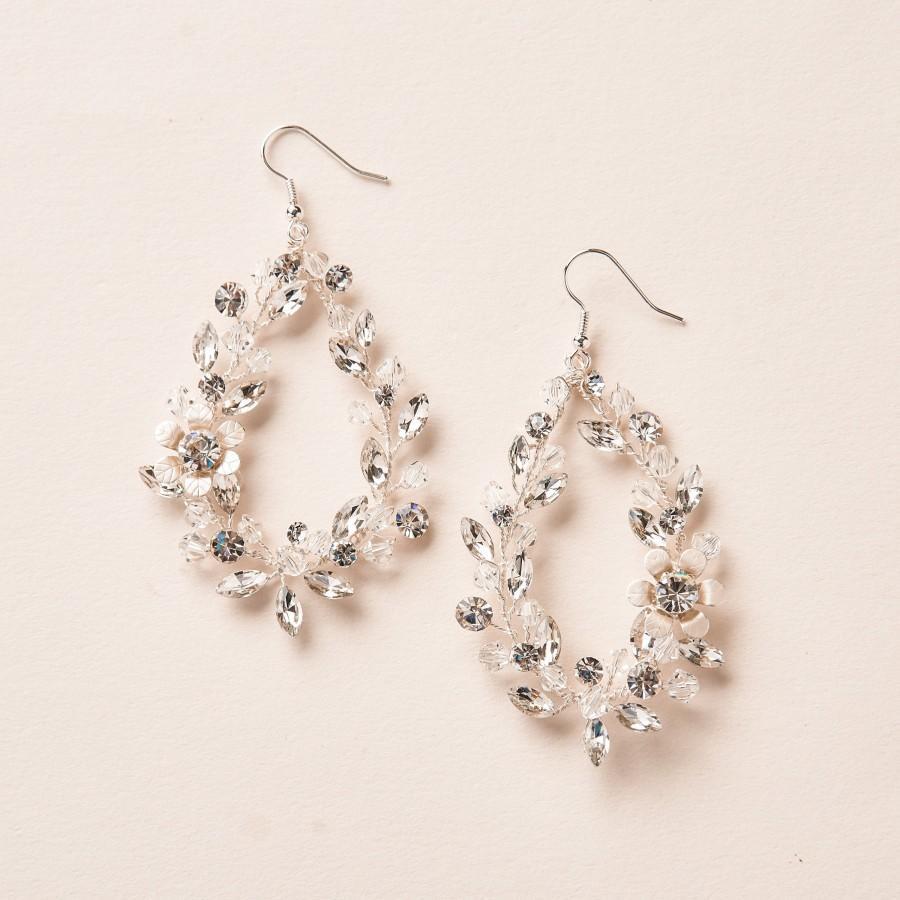 Mariage - Floral Statement Earrings, Bridal Hoop Earrings, Wedding Statement Earrings, Bridal Hoop Earrings, Wedding Dangle Earrings, Floral ~4216