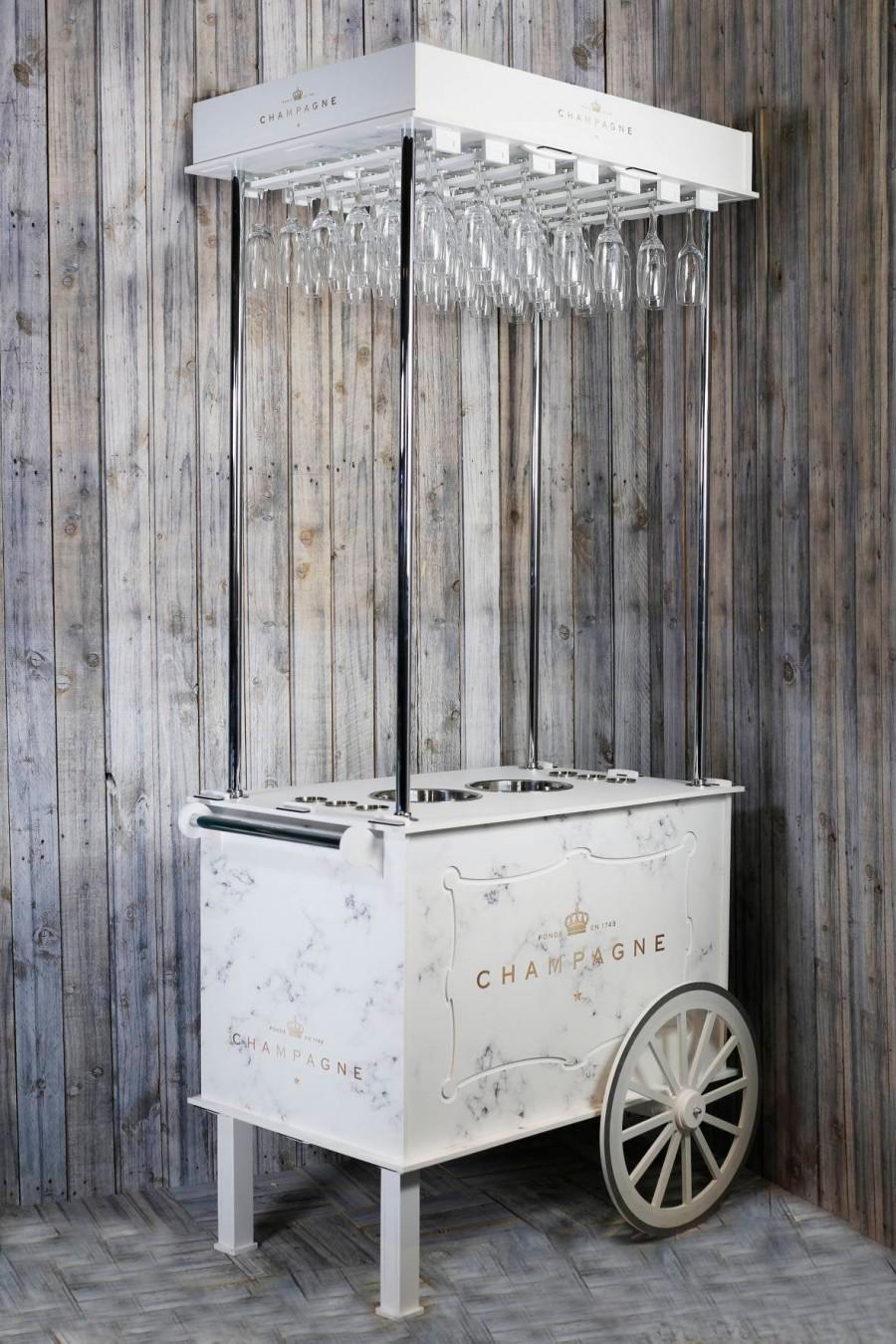 زفاف - Champagne Cart, Drinks Cart Various Sizes from 220cm (7ft) tall to 105cm (3ft) Tall, with Champagne buckets, Belini Pots, Holds 18-42 flutes