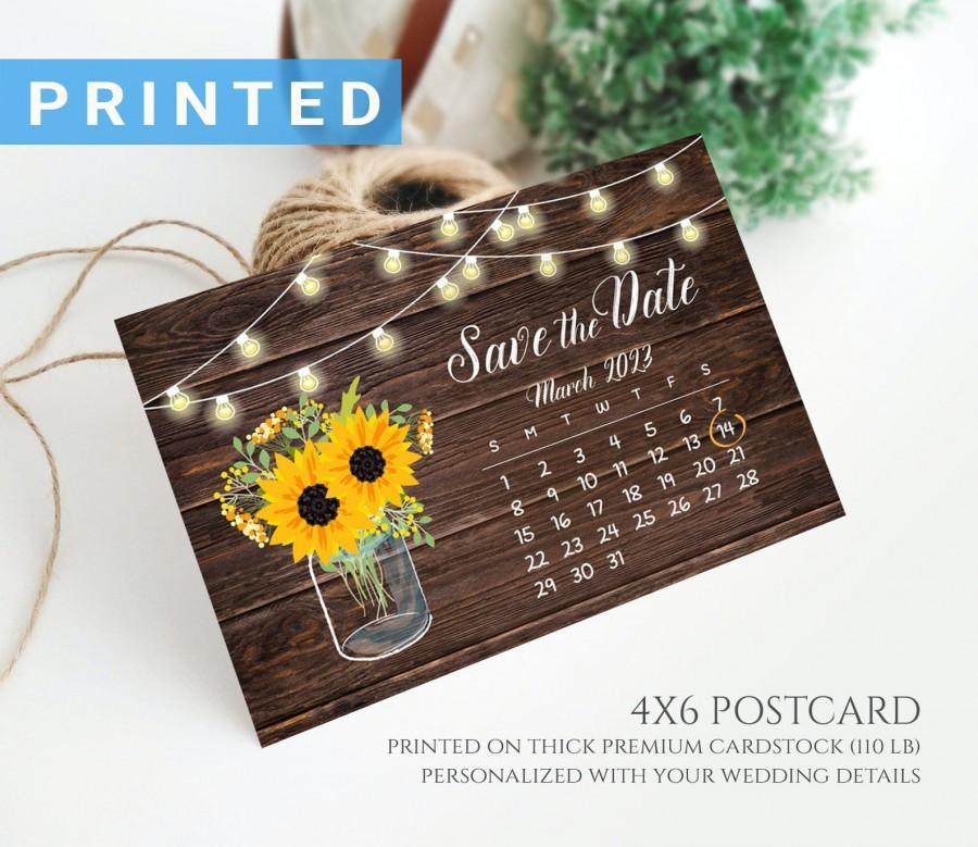 Wedding - Rustic string lights calendar save the date postcard