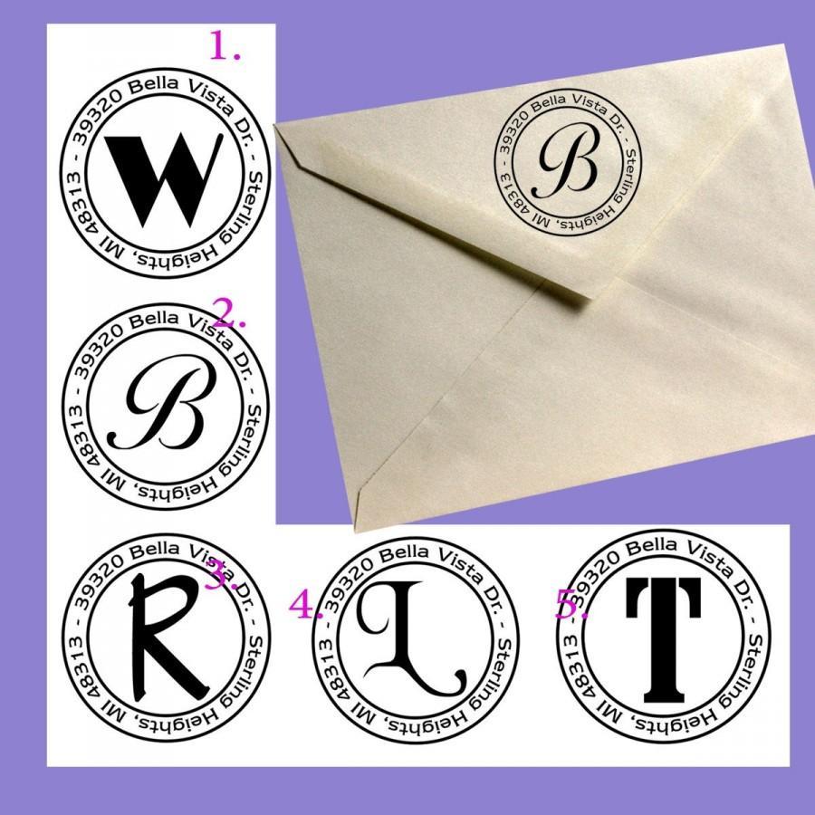 Wedding - Round Initial Custom Return Address stamp - by Blossom Stamps