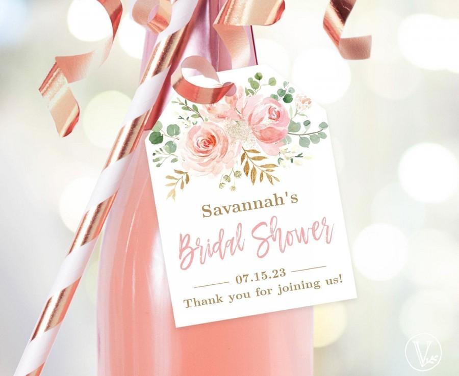 Wedding - Bridal Shower Favor Tags, Printable Bridal Shower Favor Tag Template, Editable, Champagne or Wine Bottle Tags, Blush Pink Floral, VWC95