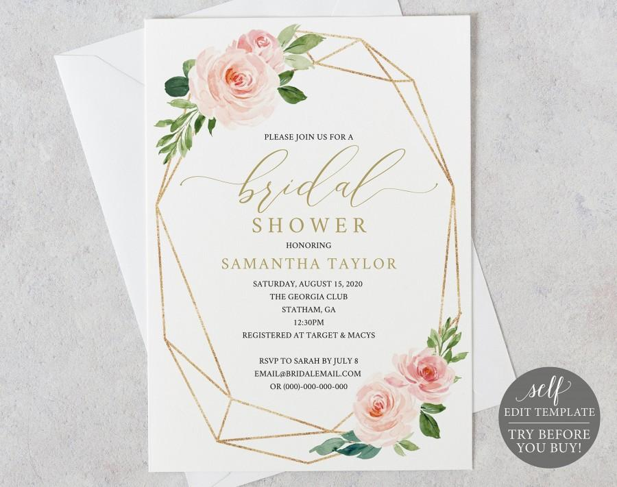 Wedding - Bridal Shower Invitation, Printable Bridal Shower Invite  Editable Template, Instant Download, Geometric, Pink, Blush, Gold, Floral