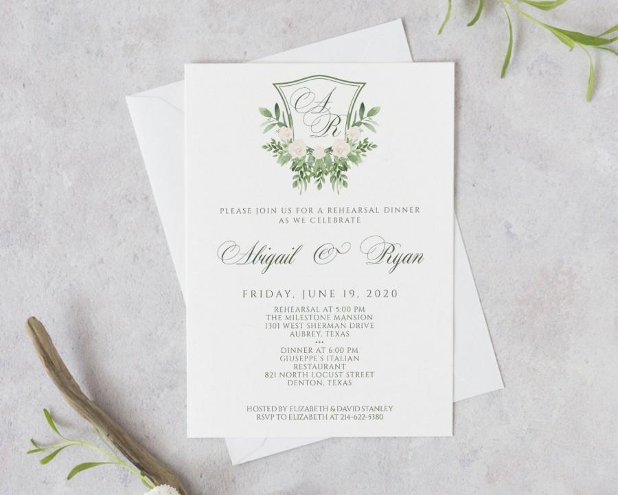 Wedding - Wedding Rehearsal Dinner Invitation Template, Green Crest Monogram Rehearsal Dinner Invitation Printable, Greenery Rehearsal Dinner Invite