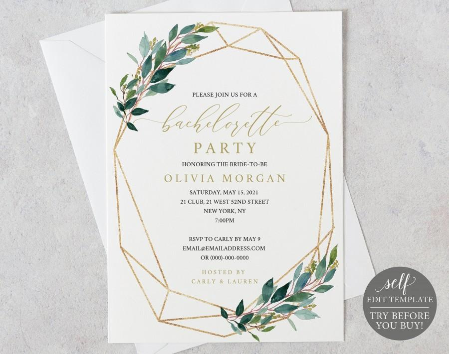 Wedding - Bachelorette Party Invitation Template, Editable Instant Download, Greenery Geometric, TRY BEFORE You BUY
