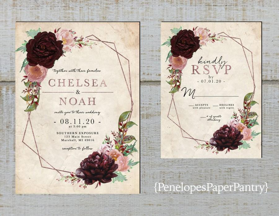 Wedding - Elegant Rustic Geometric Frame Floral Fall Wedding Invitation,Burgundy,Dusty Rose,Blush,Roses,Rose Gold,Shimmery,Printed Invitation, or Set