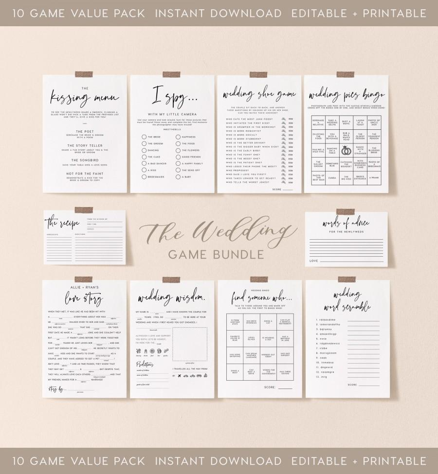 Wedding - Wedding Table Games Bundle, INSTANT DOWNLOAD, Value Game Bundle, Discount Game Bundle, Games for Wedding Table, Reception Games - PEO051