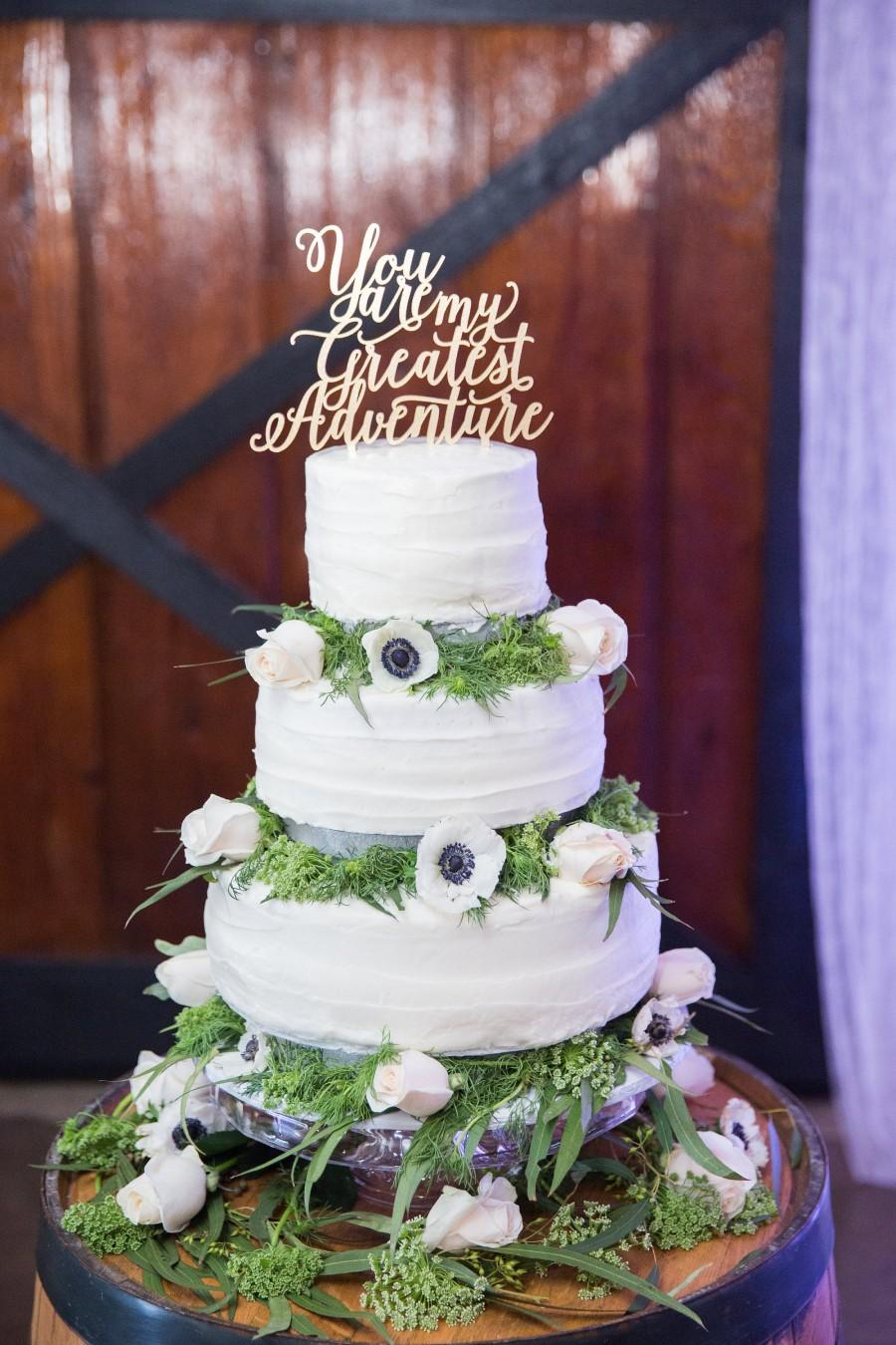 """Wedding - You are my greatest adventure Wedding Cake Topper 7"""" inches, Anniversary Celebration Script Unique Rustic Laser Cut Toppers by Ngo Creations"""