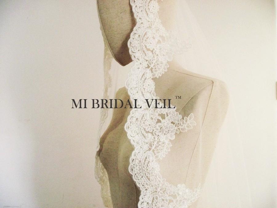 Mariage - Mantilla Lace Veil, Lace Wedding Veil Fingertip, Rose Lace Veil, Veil, Bridal Lace Veil, Mi Bridal Veil