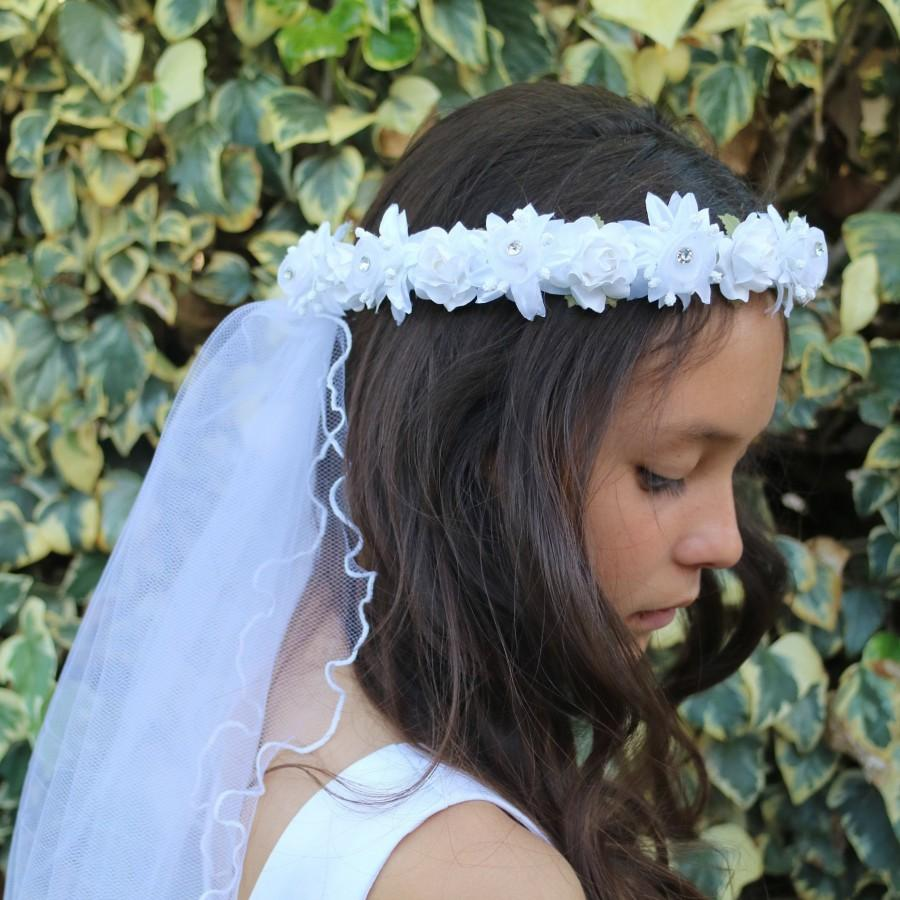 Mariage - White Flowers First Communion Veil