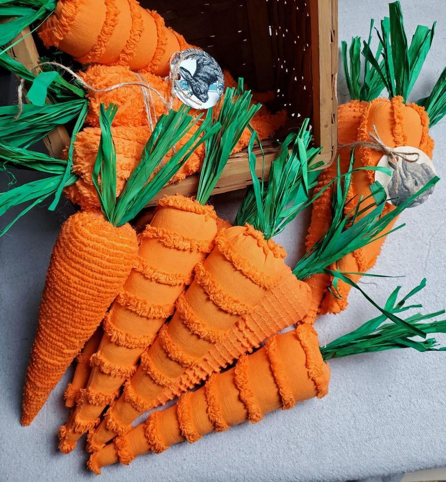 زفاف - Chenille Fabric Carrots Set of 3 Easter Decor Spring Farmhouse Shabby Cottage Chic Centerpiece Tiered Tray Table Bowl Filler (202001050)